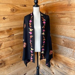Black rayon embroidered boho paisley floral scarf